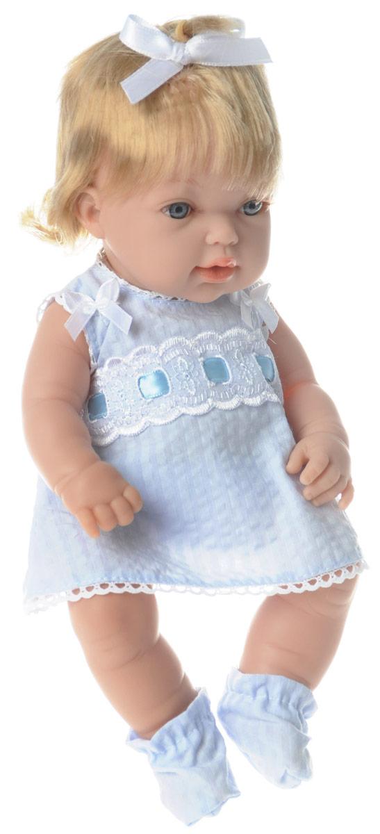 Arias Пупс Elegance цвет платья голубойТ58638Пупс Arias Elegance выполнен с анатомической точностью и выглядит совсем как настоящий малыш. Ручки, ножки и голова подвижны и изготовлены из высококачественного материала. Пупс одет в нарядное голубое платье, трусики и носочки, которые легко снимаются с ножек. Благодаря играм с куклой, ваша малышка сможет развить фантазию и любознательность, овладеть навыками общения и научиться ответственности. Порадуйте свою принцессу таким прекрасным подарком!
