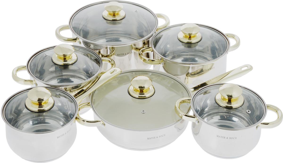 Набор посуды Mayer & Boch, 12 предметов. 45214521Набор Mayer & Boch состоит из четырех кастрюль разного объема, сковороды с керамическим покрытием, ковша и шести крышек. Емкости изготовлены из высококачественной нержавеющей стали 18/10 с зеркальной полировкой. Они оснащены капсулированным дном с прослойкой из алюминия, которое обеспечивает наилучшее распределение тепла по поверхности посуды. Ручки из нержавеющей стали надежно крепятся к корпусу емкостей. Золотистое покрытие ручек придает посуде элегантный внешний вид. Крышки из термостойкого стекла позволяют следить за процессом приготовления пищи без потери тепла. Они оснащены металлическим ободом по краю, который предотвращает сколы стекла. На внутренней поверхности кастрюль и ковша имеются отметки литража. Сковорода снабжена керамическим покрытием, которое предотвращает пригорание и прилипание пищи. Посуду можно использовать на всех типах плит, включая индукционные. Также изделия можно мыть в посудомоечной машине. Диаметр кастрюль (по...