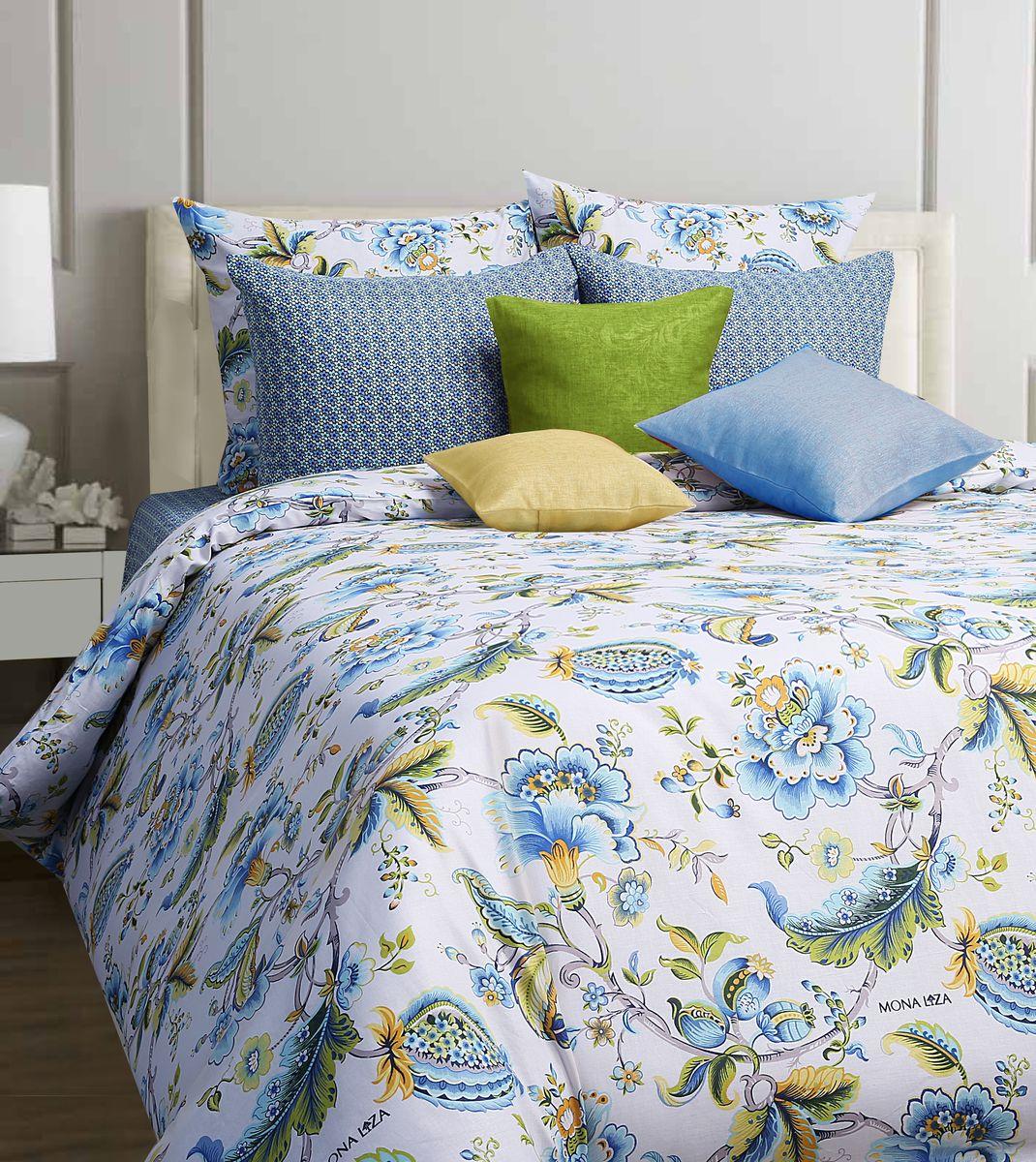 Комплект белья Mona Liza Nensy, 1,5-спальное, наволочки 70x70, цвет: белый, голубой551114/02Коллекция постельного белья MONA LIZA Classic поражает многообразием дизайнов. Среди них легко подобрать необходимый рисунок, который создаст в доме уют. Комплекты выполнены из бязи 100 % хлопка.