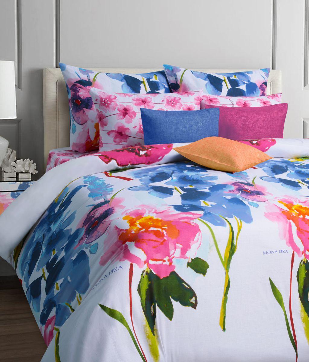 Комплект белья Mona Liza Palitra, евро, наволочки 70x70, цвет: белый, голубой552109/36Коллекция постельного белья MONA LIZA Classic поражает многообразием дизайнов. Среди них легко подобрать необходимый рисунок, который создаст в доме уют. Комплекты выполнены из бязи 100 % хлопка.