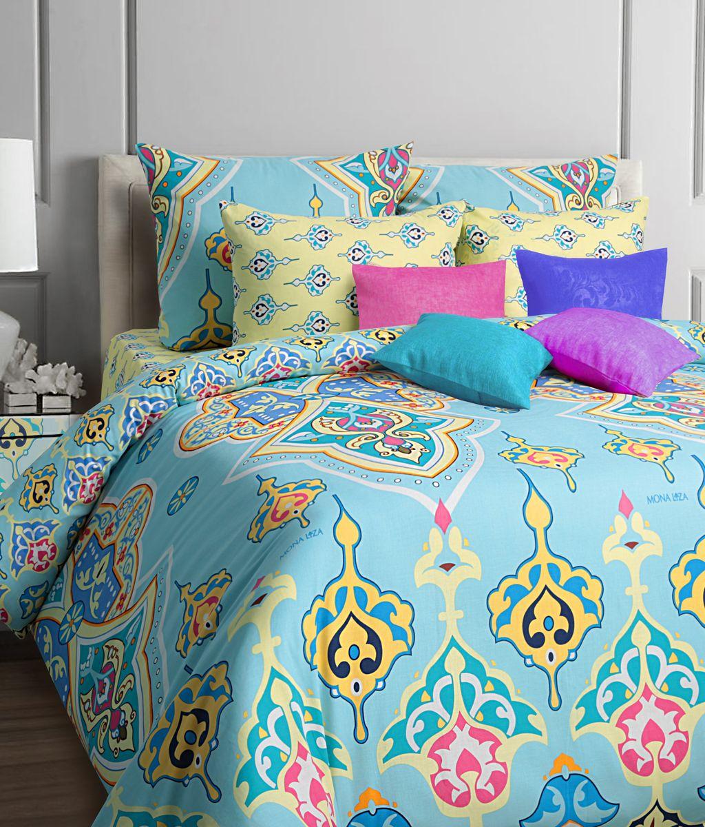 Комплект белья Mona Liza Arabic, 2-спальное, наволочки 70x70, цвет: голубой