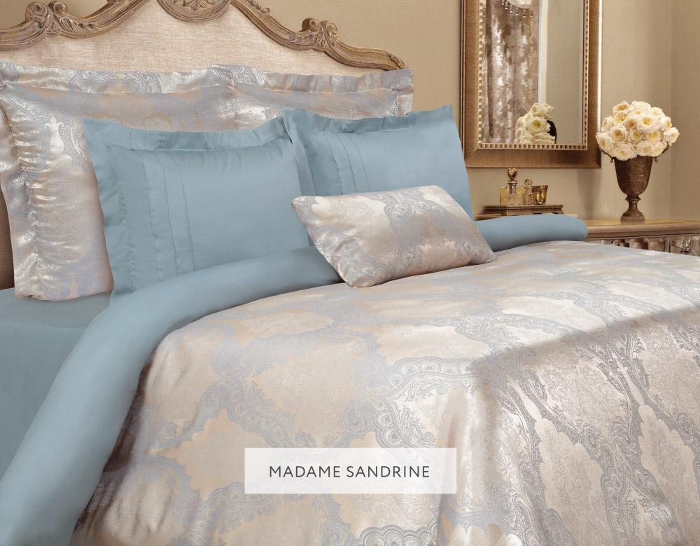 Комплект белья Mona Liza Madam Sandrine, 2-спальное, наволочки 50х70 и 70x705538/14Комплект постельного белья Mona Liza Madam Sandrine выполнен из комбинации сатина и натуральной вискозы. Данный состав придает ткани шелковистость, прочность и гидроскопичность, по своим качествам, в том числе визуальным, не уступает шелку. Комплект состоит из пододеяльника, простыни и четырех наволочек. Изделия оформлены благородным орнаментом. Пододеяльник на пуговицах. Элегантный стиль, несравненное качество, изысканный рельефный рисунок и приятные оттенки придают постельному белью богатый и утонченный вид.