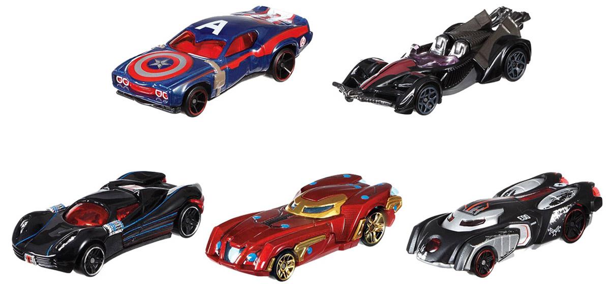 Hot Wheels Avengers Набор машинок Капитан Америка Гражданская война 5 штDJT61Железный человек и другие супергерои и злодеи из фильма Первый мститель. Гражданская война послужили вдохновением для новых машинок Hot Wheels. Они готовы к новым высокоскоростным приключениям! У каждого автомобиля свой неповторимый дизайн и уникальные элементы, соответствующие их прототипам из вселенной Marvel. Игрушки изготовлены из высококачественного пластика с металлическими элементами. Колесики машинок имеют свободный ход. Ваш ребенок будет с удовольствием играть с этим набором, придумывая различные истории. Порадуйте его таким замечательным подарком!