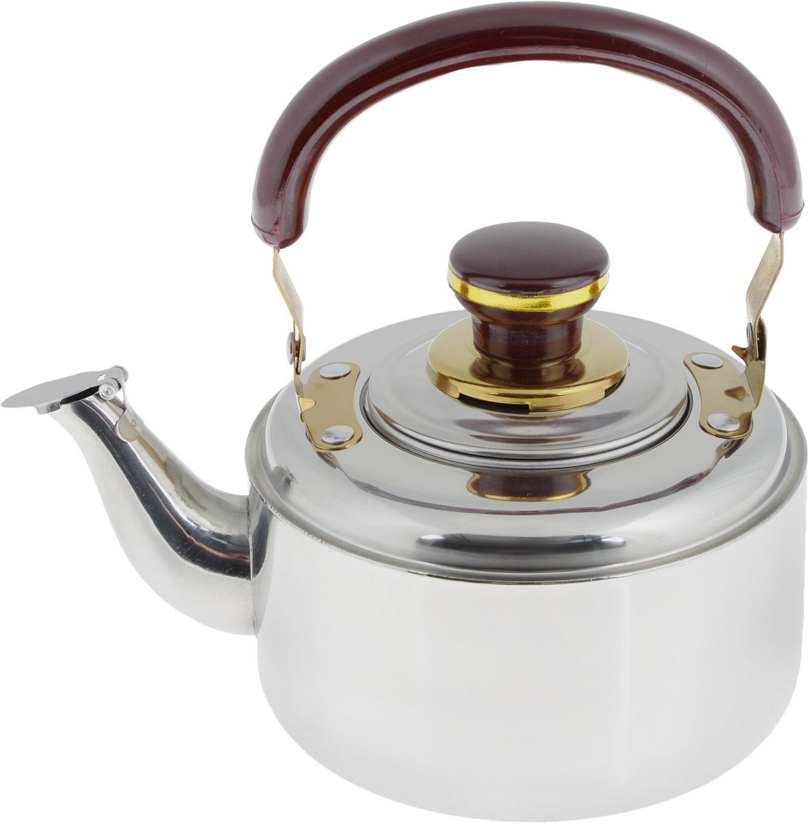 Чайник заварочный Mayer & Boch, со свистком, с фильтром, 1 л. 400400Заварочный чайник Mayer & Boch выполнен из высококачественной нержавеющей стали, что обеспечивает долговечность использования. Внешнее зеркальное покрытие придает приятный внешний вид. Бакелитовая ручка делает использование чайника очень удобным и безопасным. Крышка оснащена свистком, что позволит вам контролировать процесс подогрева или кипячения воды. Чайник оснащен фильтром, с помощью которого можно заваривать ваш любимый чай. Можно мыть в посудомоечной машине. Пригоден для газовых, электрических и стеклокерамических плит, кроме индукционных. Диаметр чайника по верхнему краю: 7 см. Высота чайника (без учета крышки и ручки): 8,5 см. Высота чайника (с учетом крышки и ручки): 18 см. Размер фильтра: 7,5 х 7,5 х 5,5 см.