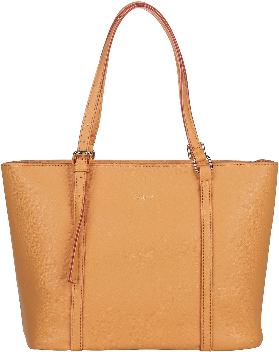 Сумка женская Calipso, цвет: оранжевый. 048-131286-288048-131286-288Изысканная женская сумка Calipso выполнена из качественной искусственной кожи. Сумка закрывается на замок-молнию. Удобные ручки с регулируемой длинной крепятся к корпусу сумки на металлическую фурнитуру золотистого цвета. Внутри одно отделение. Вместительное внутреннее отделение содержит один вместительный накладной кармана. Практичная и стильная сумка прекрасно завершит ваш образ.