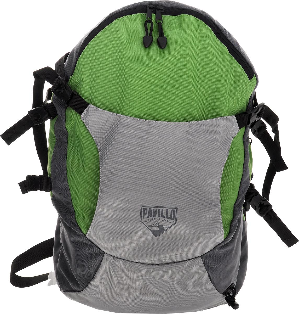 Рюкзак городской Bestway Big Canyon, цвет: серый, зеленый, 30 л. 6801768017_зеленыйСтильный городской рюкзак Bestway Big Canyon выполнен из полиэстера. Изделие имеет два основных отделения, которые закрываются на застежки-молнии и дополнительно на ремешки с застежками-фастекс. Внутри одного из отделений расположен мягкий карман для ноутбука, закрывающийся на хлястик с липучкой. Снаружи, на передней стенке расположены отделение для шлема, фиксирующееся на застежки-фастекс и нашивной карман на застежке-молнии, внутри которого шесть накладных кармашков и два держателя для авторучек. На задней стенке предусмотрен прорезной карман на застежке-молнии. Мягкая спинка с вставками из сетчатого материала комфортна при движении. Рюкзак оснащен широкими мягкими регулирующими лямками, удобной ручкой для переноски в руках и поясным регулирующим ремнем с застежкой-фастекс. Поясной ремень дополнен боковыми мягкими вставками. Лямки дополнены перемещаемым регулирующим нагрудным ремнем с застежкой-фастекс. Такой рюкзак станет незаменимым в повседневной жизни.