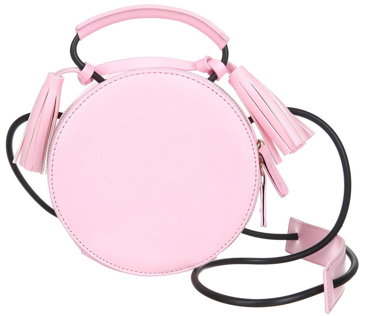 Сумка женская Orsa Oro, цвет: розовый. D-210/20D-210/20Изысканная женская сумка Orsa Oro выполнена из экокожи. Сумка закрывается на замок-молнию. Внутри одно большое отделение, которое содержит один накладной карман для телефона и мелких принадлежностей. Модель имеет жесткий каркас и форму окружности. Сумка оснащена ручкой, выполненной из резинового шнурка из экокожи, декорированной кистями. Сумка оснащена резиновым плечевым шнурком с вставкой из экокожи для плеча . Практичная и стильная сумка прекрасно завершит ваш образ.