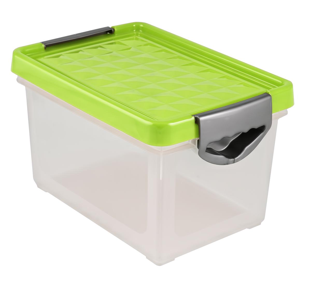 Ящик для хранения BranQ Systema, цвет: зеленый, прозрачный, 272 х 184 х 162 ммBQ1001ЗЛПРЯщик для хранения поможет правильно организовать пространство в доме и сэкономит место. В нем можно хранить все, что угодно: одежду, обувь, детские игрушки и т.п. Прочный каркас ящиков позволит хранить как легкие вещи, так и переносить собранный урожай овощей или фруктов. Эргономичные ручки-защелки, позволяют переносить ящик как с крышкой, так и без крышки.