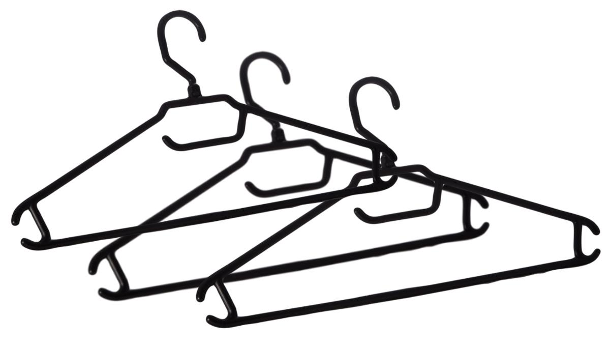 """Набор вешалок для одежды """"BranQ"""", цвет: черный, размер 48-50, 3 шт"""