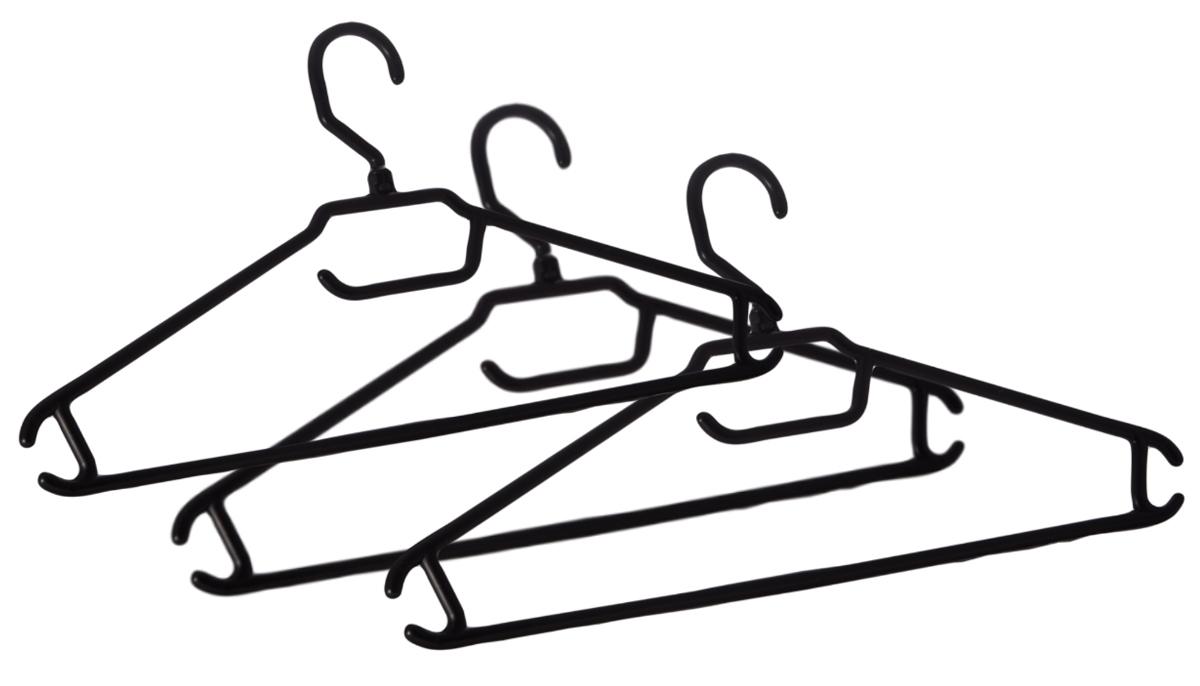 Вешалка BranQ, с перекладиной, размер 52-54, 3 штBQ1885ЧРКомплект BranQ состоит из трех облегченных вешалок для легкой одежды. Изделия изготовлены из прочного пластика. Вешалки оснащены закругленными плечиками, перекладиной и крючками. Вешалка - это незаменимая вещь для того, чтобы ваша одежда всегда оставалась в хорошем состоянии.