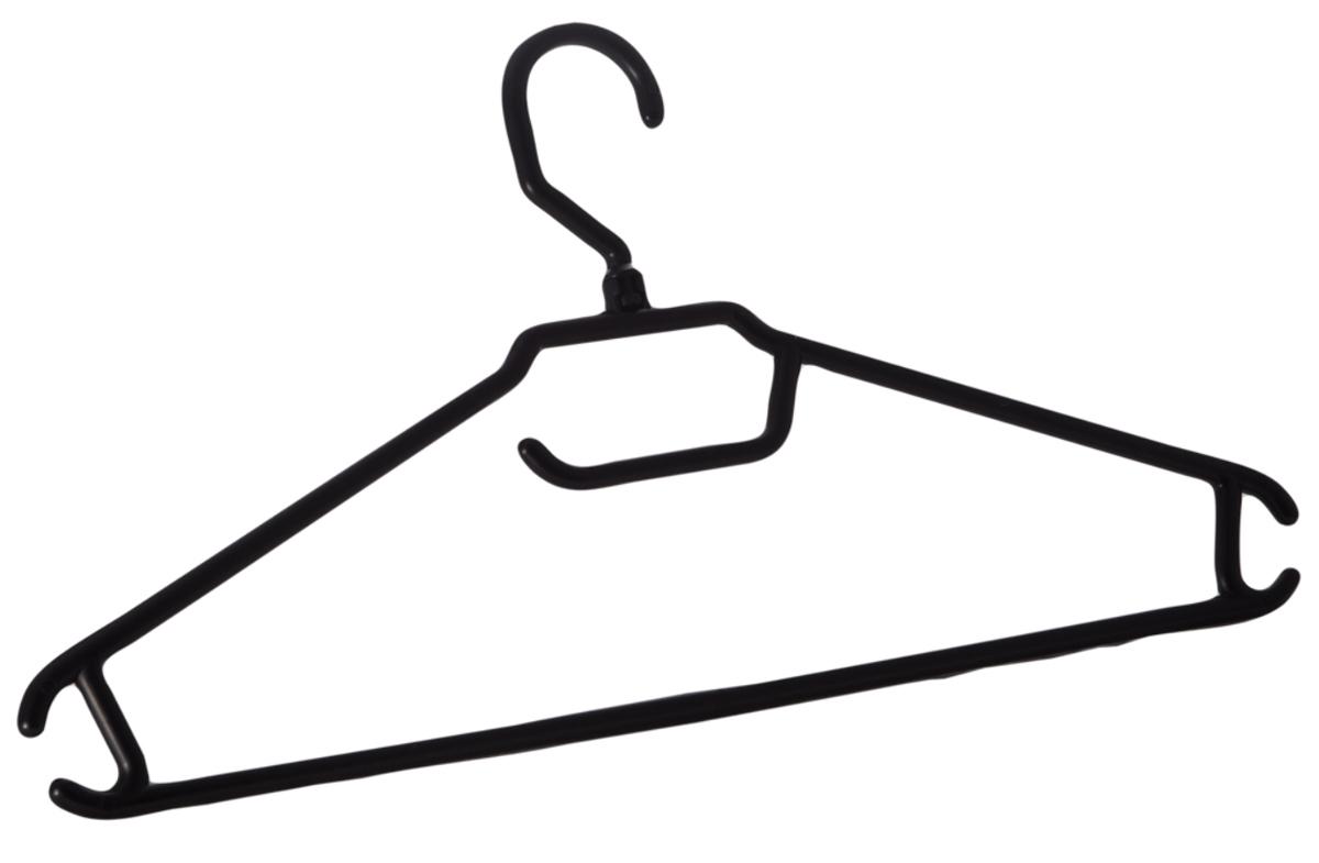 Вешалка BranQ, цвет: черная, 405 х 205 х 10 мм, размер 48-50BQ1892ЧРОблегченные вешалки-плечики для легкой одежды, снабжены дополнительными крючками по бокам.