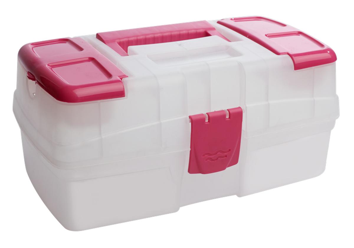 Ящик для хранения BranQ, цвет: розовый, прозрачный, 29 х 17 х 13 cмBQ2558ПРРЗЯщик для хранения мелочей BranQ выполнен из высококачественного пластика. Снабженный удобной ручкой, он имеет две небольших секции на крышке, закрывающиеся двумя планками, в секциях особенно удобно хранить мелкие предметы для рукоделия: иглы, наперстки, мотки ниток. Ящик закрывается на пластиковый замок, внутри имеется одно вместительное отделение. Универсальный ящик для мелочей может использоваться в качестве аптечки, прекрасно подойдет для хранения швейных принадлежностей и других, необходимых в хозяйстве вещей.