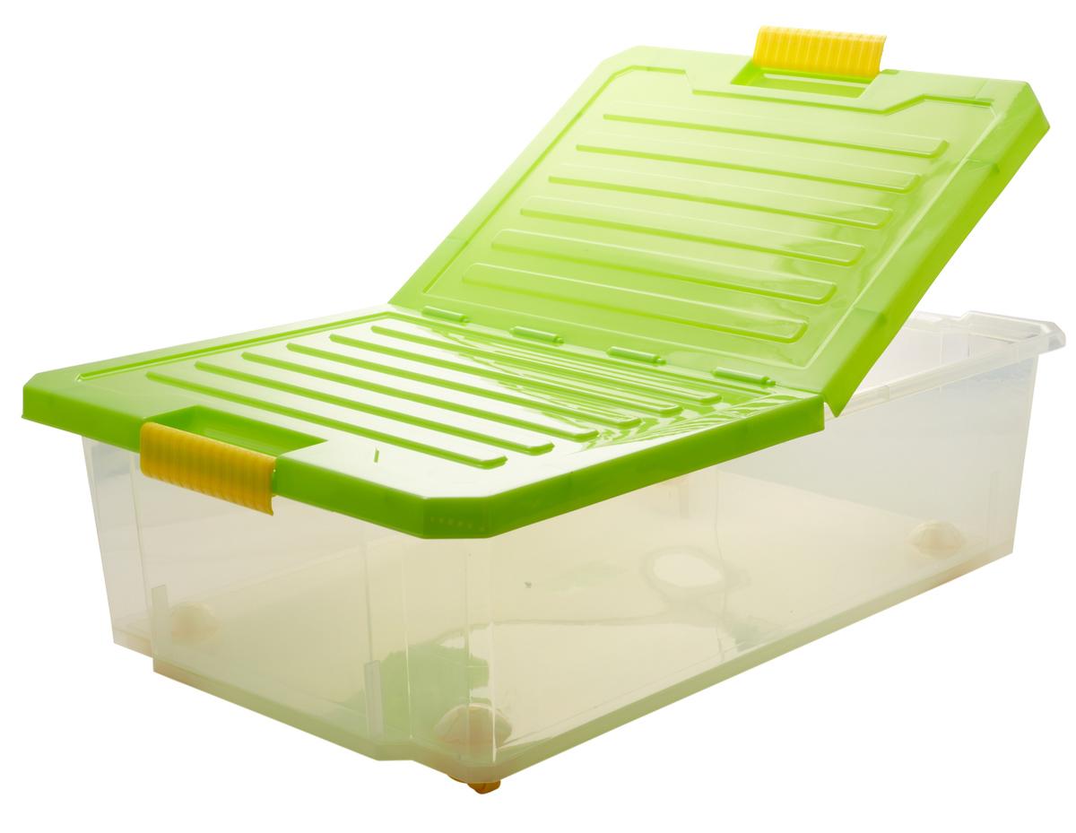 Ящик для хранения BranQ Unibox, на колесиках, цвет: зеленый, прозрачный, 30 лBQ2564ЗЛПРУниверсальный ящик для хранения BranQ Unibox, выполненный из прочного пластика, поможет правильно организовать пространство в доме и сэкономить место. В нем можно хранить все, что угодно: одежду, обувь, детские игрушки и многое другое. Прочный каркас ящика позволит хранить как легкие вещи, так и переносить собранный урожай овощей или фруктов. Изделие оснащено складной крышкой, которая защитит вещи от пыли, грязи и влаги. С помощью колесиков на дне изделия ящик легко перемещать по комнате. Эргономичные ручки-защелки, позволяют переносить ящик как с крышкой, так и без нее.