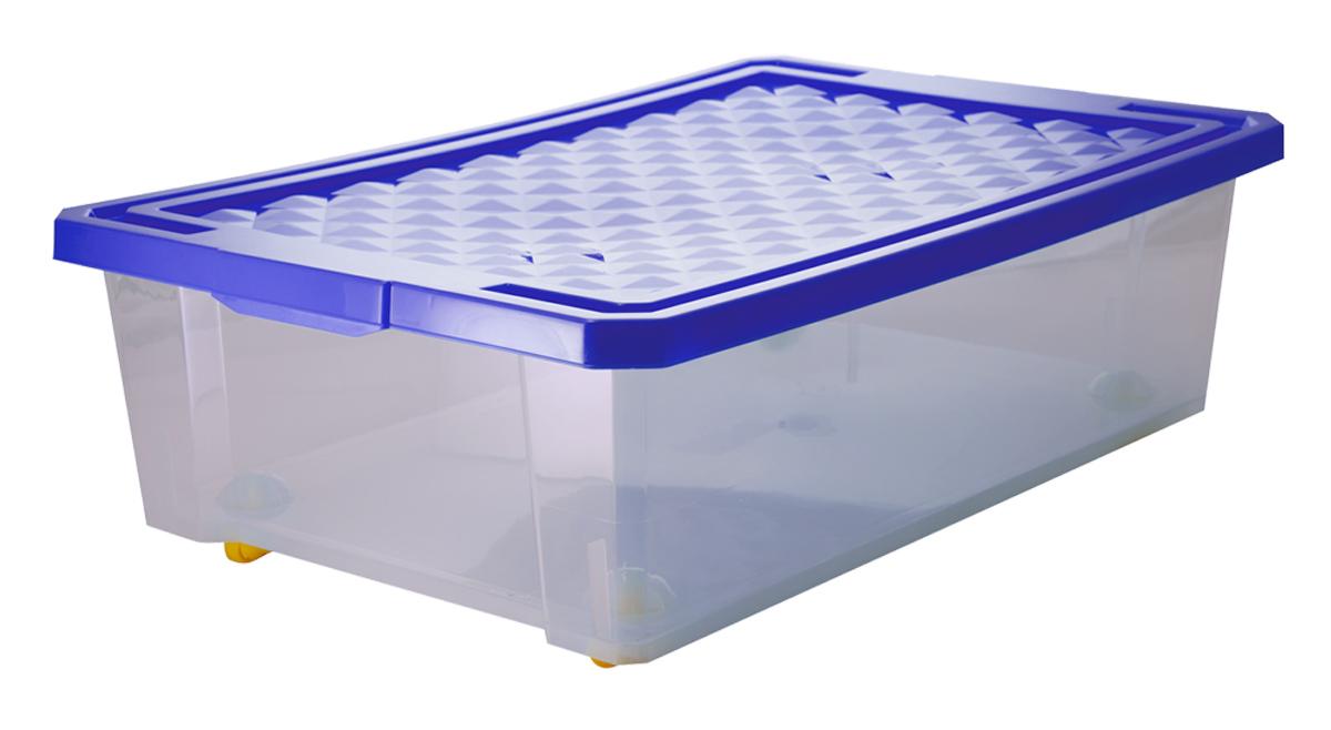 Ящик для хранения BranQ Optima, цвет: синий, 610 х 405 х 193 ммBQ2574СНЛЕГОУниверсальный ящик для хранения с крышкой. Прозрачный корпус позволяет видеть содержимое ящика. Прочный каркас позволит хранить разные вещи. Снабжен роликами для удобства перемещения.