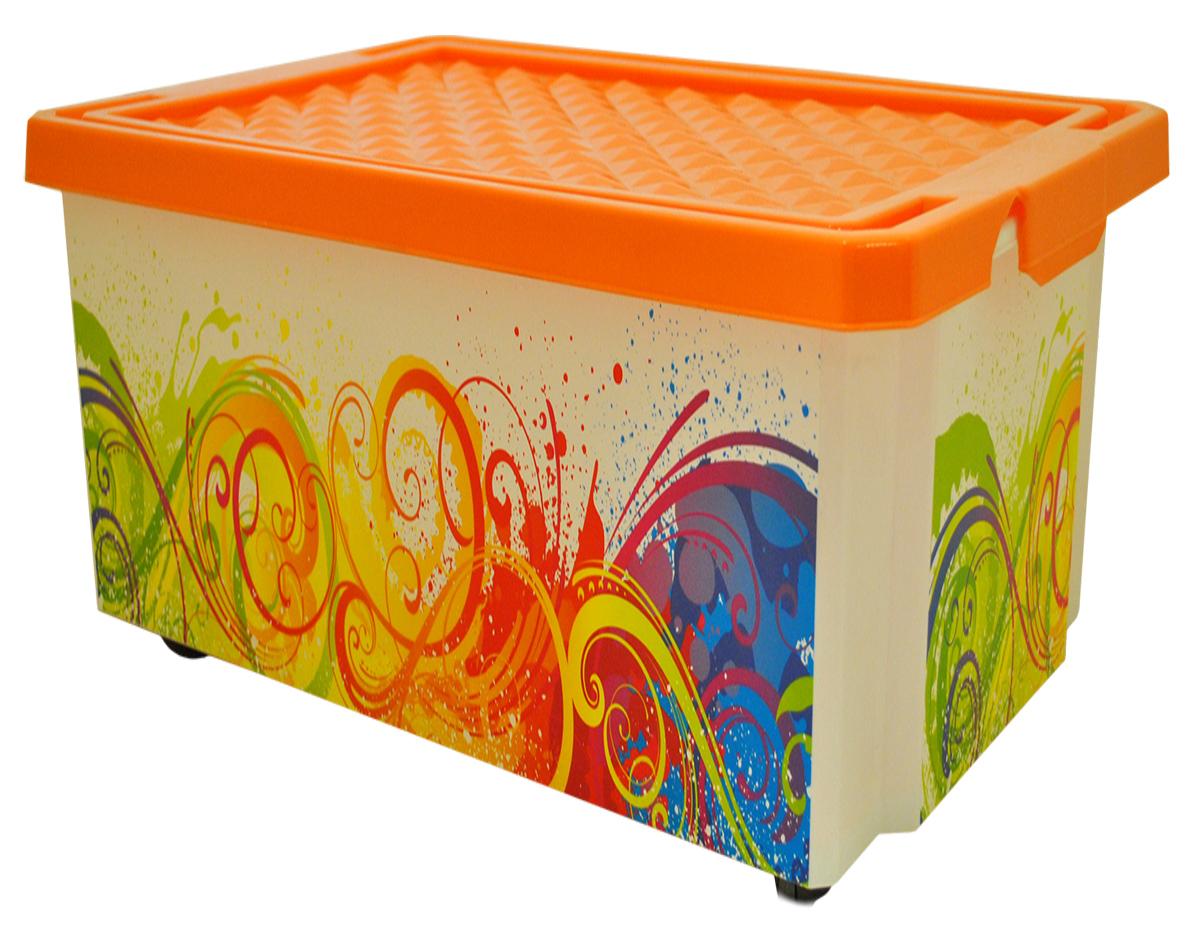 Ящик для хранения BranQ Optima. Брызги, на колесиках, 57 лBQ2586БРУниверсальный ящик для хранения BranQ Optima. Брызги, выполненный из прочного пластика, поможет правильно организовать пространство в доме и сэкономить место. Ящик, декорированный оригинальным принтом, впишется в любой интерьер и дополнит его. В нем можно хранить все, что угодно: одежду, обувь, детские игрушки и многое другое. Прочный каркас ящика позволит хранить как легкие вещи, так и переносить собранный урожай овощей или фруктов. Изделие оснащено крышкой, которая защитит вещи от пыли, грязи и влаги. С помощью колесиков на дне ящик легко перемещать по комнате.