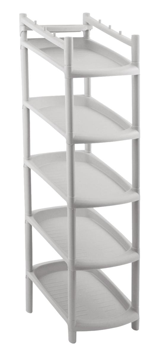 Этажерка для обуви «BranQ», 5-ярусная, цвет: серый, 48 х 25,5 х 24 см  стеклянные тумбочки под телевизор цена