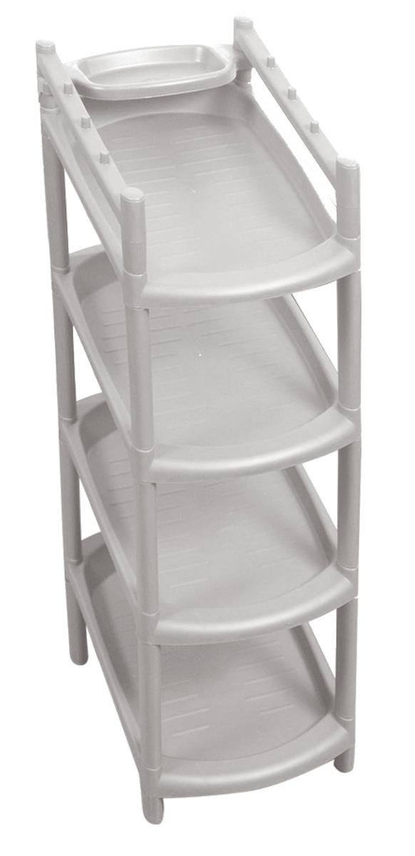 Этажерка для обуви Blocker, узкая, 4 полки, цвет: серый, 480 х 255 х 205 мм