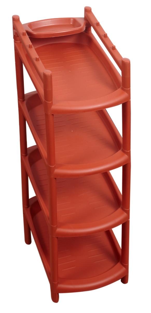 Этажерка для обуви BranQ, 4-ярусная, цвет: терракотовый, 41,5 х 25,5 х 81 см. BQ2801ТРBQ2801ТРЭтажерка BranQ с 4 полками выполнена из высококачественного пластика и предназначена для хранения обуви в прихожей. Очень удобная и компактная, но в тоже время вместительная, этажерка прекрасно впишется в пространство вашей прихожей. Легко собирается и разбирается.