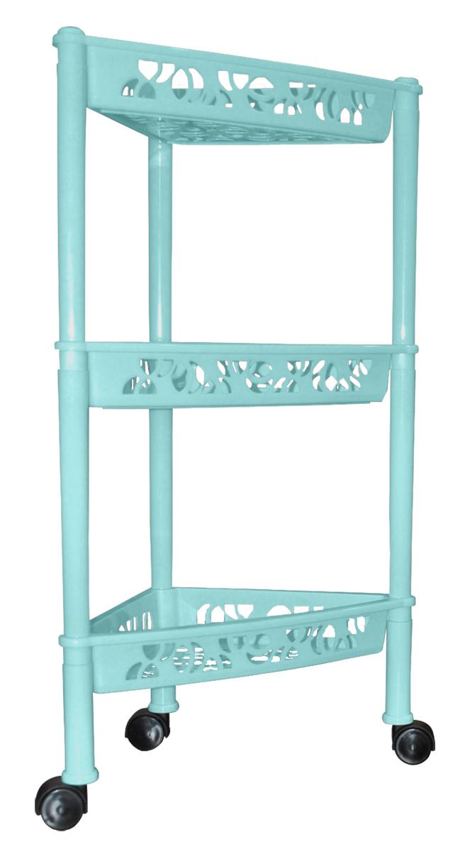 Этажерка BranQ «Prima», 3-ярусная, угловая, на колесиках, цвет: бирюзовый, 38,3 х 22,2 х 69 см. BQ2832БРЗ  диван стол кровать купить в москве