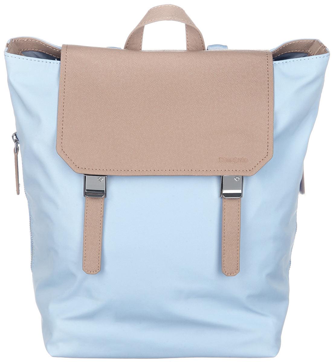 Рюкзак женский Samsonite, цвет: голубой. 56D-3100156D-31001Стильный женский рюкзак Samsonite выполнен из полиэстера и полиуретана, оформлен металлической фурнитурой и символикой бренда. Изделие содержит одно отделение, закрывающееся клапаном с двумя хлястиками на фиксаторы и дополнительно на хлястики с кнопками. Внутри рюкзака расположены мягкий карман для планшета, два накладных кармашка и врезной карман на застежке-молнии. Задняя сторона изделия дополнена врезным карманом на застежке-молнии. По бокам рюкзака расположены два врезных кармана, каждый из которых закрывается на застежку-молнию. Изделие оснащено двумя широкими плечевыми лямками регулируемой длины и петлей для подвешивания. Дно рюкзака дополнено металлическими ножками. Практичный аксессуар позволит вам завершить образ и быть неотразимой. Изделие содержит чехол для хранения.