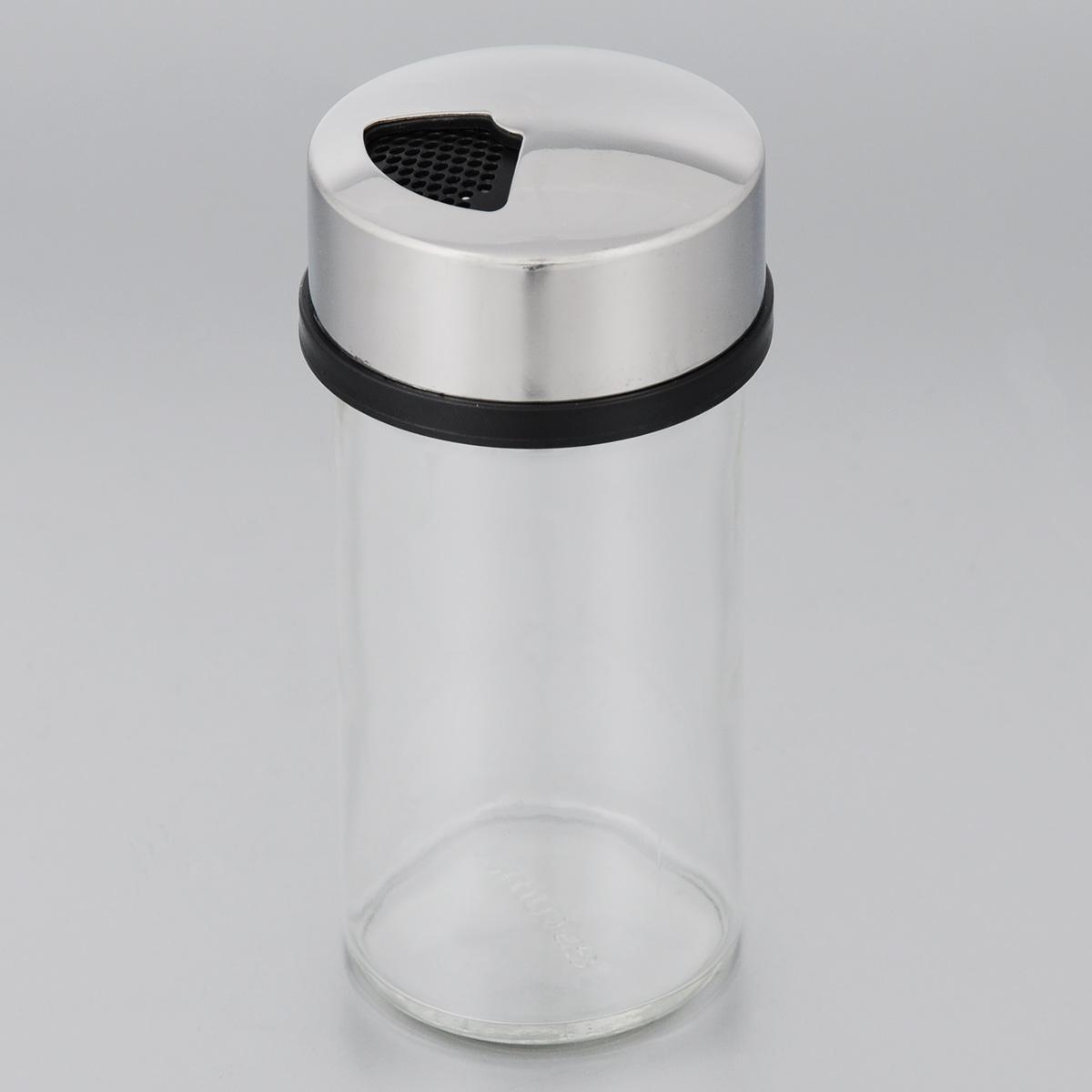 Универсальная емкость для специй Tescoma Club, 150 мл650359Универсальная емкость для специй Tescoma Club изготовлена из первоклассной нержавеющей стали, стекла и прочного пластика. Изделие имеет три типа отверстий и положение закрыто. Отлично подходит для всех распространенных видов специй, от мелких (например, соли) до грубых (например, перец горошком). Выберите тип отверстия поворотом крышки. Стеклянную емкость можно мыть в посудомоечной машине. Высота емкости (с крышкой): 12 см. Диаметр емкости: 5,5 см.