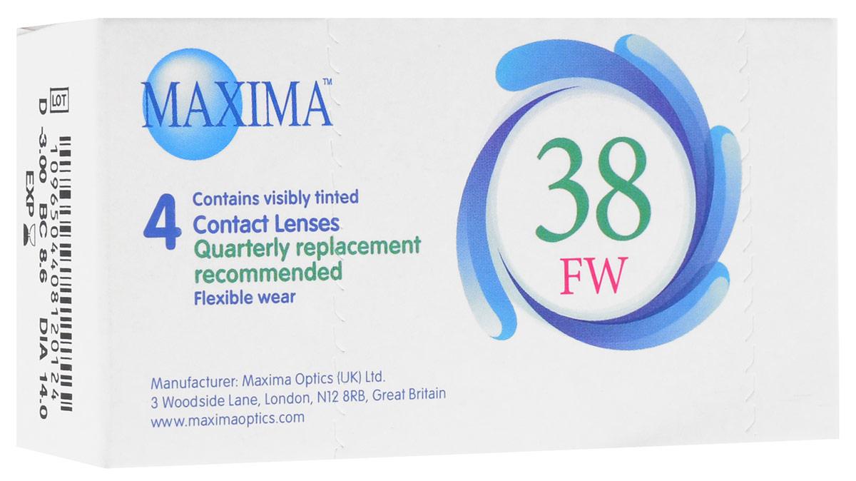 Maxima контактные линзы 38 FW (4 шт / 8.6 / -3.00)1008Линзы квартальной замены Maxima 38 FW обладают отличными клиническими характеристиками в сочетании с доступной ценой. Идеальны для перехода пациентов с традиционных линз к плановой замене. Ровный тонкий профиль края линзы Maxima 38 FW, незначительная толщина в центре обеспечивают комфорт ношения и улучшают кислородную проницаемость к роговице. Замена через 3 месяца.