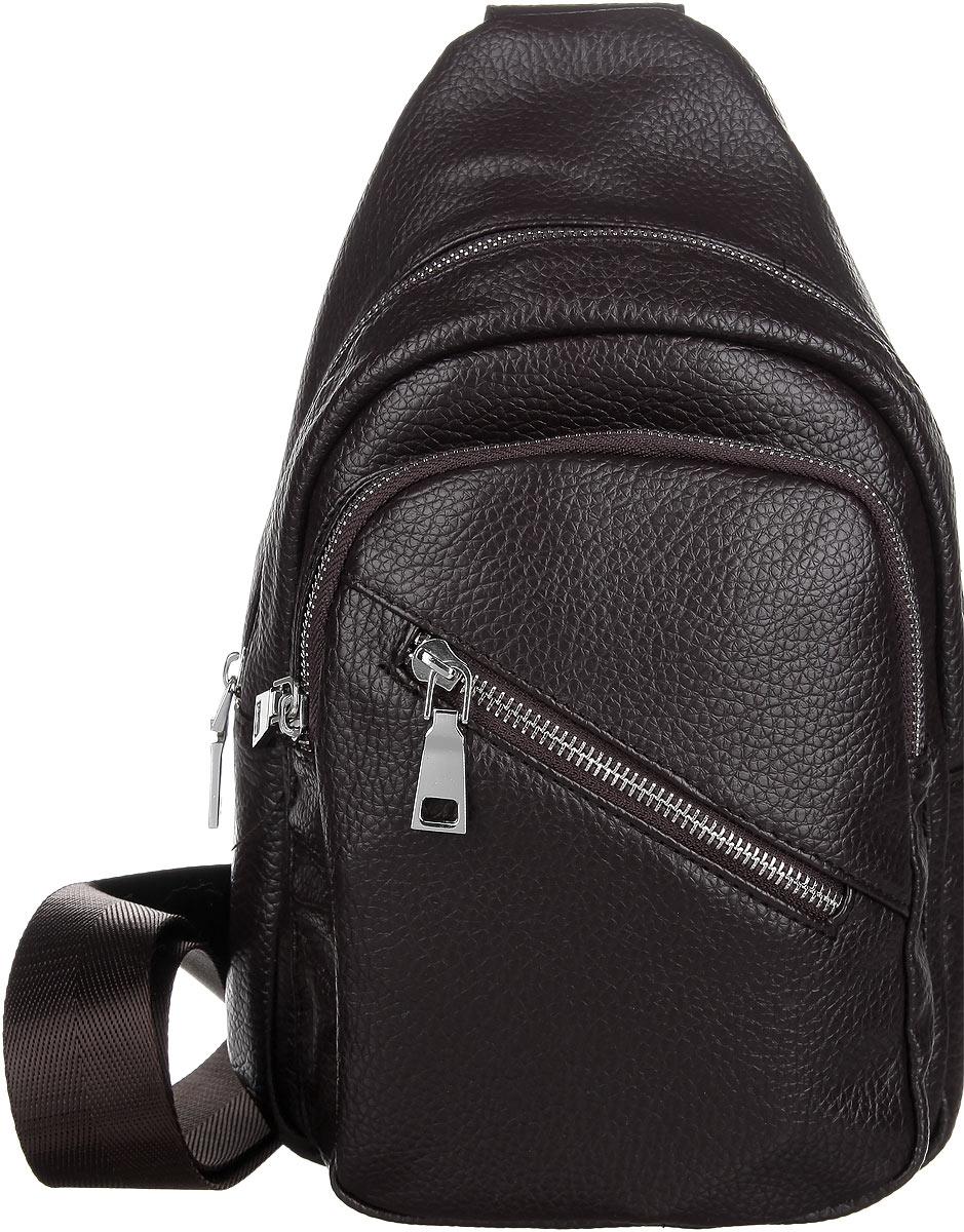 Сумка мужская Orsa Oro, цвет: темно-коричневый. D-233/55D-233/55Мужская сумка Orsa Oro выполнена из экокожи темно-коричневого цвета. Сумка имеет одно основное отделение, закрывающееся на застежку-молнию. Внутри - один накладной карман для телефона и мелких принадлежностей. На лицевой стороне сумки расположены два вшитых карман на застежке-молнии. Для удобства предусмотрена актуальная ручка-лента регулируемой длины, что позволяет носить изделие как в руках, так и на плече. Такая сумка подчеркнет вашу яркую индивидуальность и оригинально дополнит ваш образ.