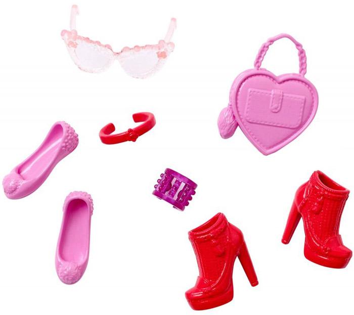 Barbie Набор обуви и аксессуаров для кукол цвет розовый красный ( CFX30_DHC55 )