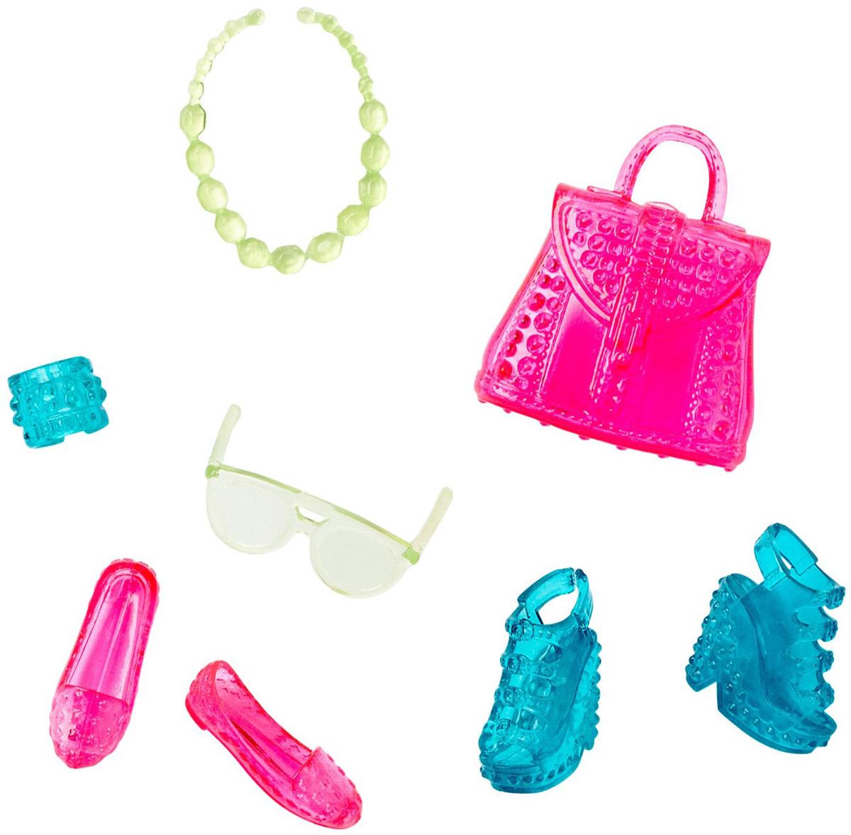 Barbie Набор обуви и аксессуаров для кукол Blue and PinkCFX30_DHC54Каждый день новый очаровательный наряд - это возможно с набором обуви и аксессуаров Barbie Blue and Pink. Современные силуэты, нарядные цвета и детали оживят игру. В набор входит две пары обуви, сумочка, очки и украшения; кукла продается отдельно. Комбинируйте с другими нарядами, чтобы расширить гардероб своих модниц. Одежда подходит большинству кукол Барби.