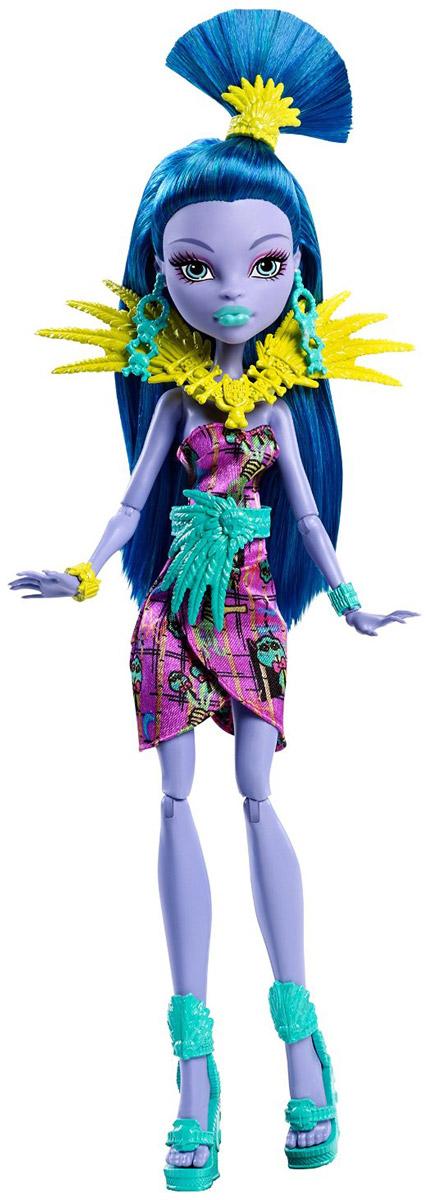 Monster High Кукла Джейн БулиттлDKX98_DKX99Настоящая королева джунглей - кукла Monster High Джейн Булиттл - предстает в совершенно необычном облике. Она настолько яркая и экзотичная, что просто невозможно налюбоваться. Фиолетовое платье, желтые и бирюзовые аксессуары прекрасно сочетаются со светло-фиалковой кожей и сине-бирюзовыми волосами. Подвижные плечи, локти, колени и голова позволят придавать кукле различные позы. Отправляйтесь на каникулы в тропические страны вместе с куклами из Школы монстров!