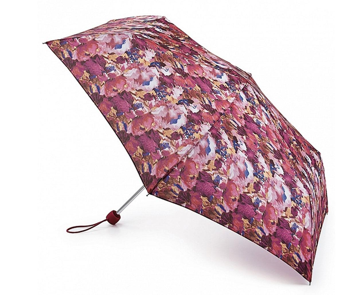 Зонт женский Fulton Superslim, механический, 3 сложения, цвет: мультиколор. L553-2934L553-2934 BlurredFloralPinkСтильный механический зонт Fulton Superslim в 3 сложения даже в ненастную погоду позволит вам оставаться элегантной. Облегченный каркас зонта выполнен из 6 спиц из фибергласса и алюминия, стержень также изготовлен из алюминия, удобная рукоятка - из пластика. Купол зонта выполнен из прочного полиэстера. В закрытом виде застегивается хлястиком на липучке. Яркий оригинальный принт поднимет настроение в дождливый день. Зонт механического сложения: купол открывается и закрывается вручную до характерного щелчка. На рукоятке для удобства есть небольшой шнурок, позволяющий надеть зонт на руку тогда, когда это будет необходимо. К зонту прилагается чехол, который застегивается на липучку. Чехол оформлен металлическим элементом с названием бренда. Такой зонт компактно располагается в кармане, сумочке, дверке автомобиля.