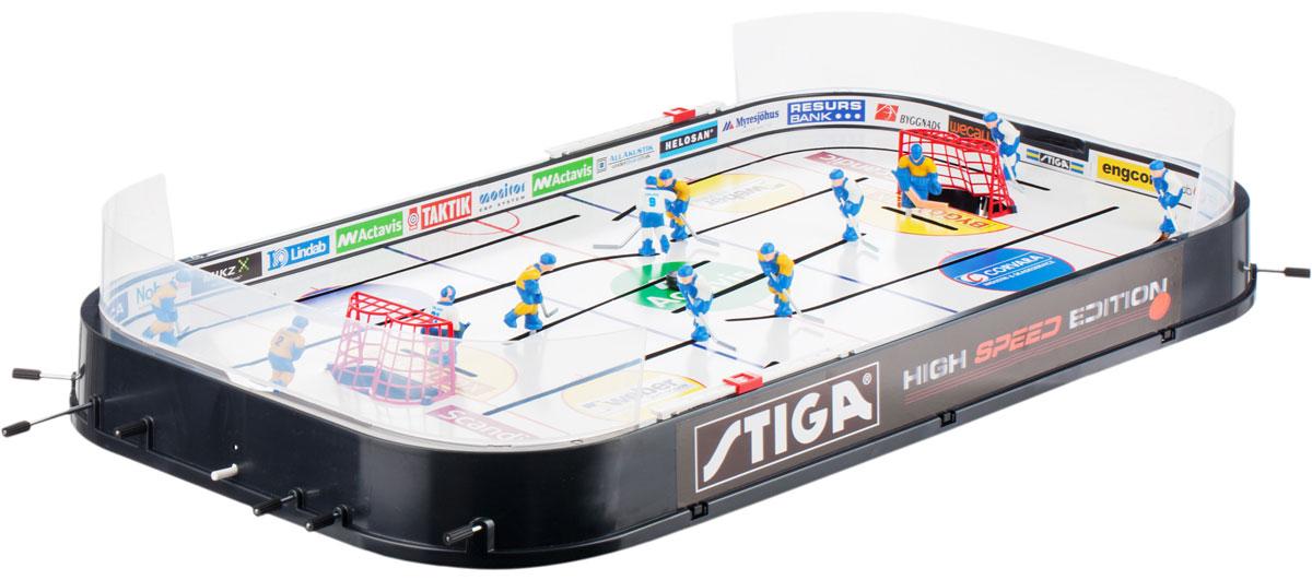 Хоккей настольный Stiga High Speed, цвет: белый, черный. 71-1144-7071-1144-70Хотите весело провести время с семьей, друзьями или коллегами? Устройте турнир по настольному хоккею! Выберите двух игроков, остальных запишите в группу поддержки и начинайте игру! В комплект входят две команды фигурок игроков, счетчики голов, защитные пластиковые борта и 2 шайбы. Настольный хоккей High Speed - настоящий спортивный праздник у вас дома! Состав: литой безопасный пластик.