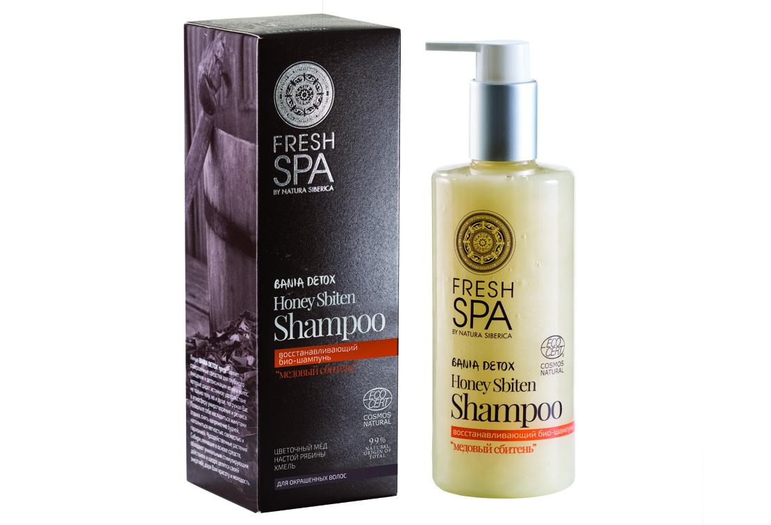 Fresh Spa Шампунь восстанавливающий Bania Detox Медовый Сбитень, 300 мл086-04-33694Восстанавливающий био — шампунь для окрашенных волос МЕДОВЫЙ СБИТЕНЬ, созданный на основе натуральных компонентов, деликатно очищает, интенсивно питает и увлажняет волосы, восстанавливая их поврежденную структуру. Эффективно удерживает красящие пигменты в волосах, предотвращая потерю цвета. Натуральный сибирский мед из пыльцы гречихи и цветков акации содержит большое количество витаминов, микроэлементов и активных компонентов, способствующих восстановлению волос. Возвращает им природную эластичность, силу и блеск. Органический настой из рябины — это кладезь витаминов С, К и Р, аминокислот и каротиноидов. Эффективно восстанавливает структуру волос, питает и насыщает кожу головы полезными витаминами и микроэлементами. Делает волосы мягкими и послушными, сохраняя яркость цвета. Эффект: Структура волос восстанавливается; цвет защищен от вымывания и сохраняет насыщенность до 10 недель; волосы более мягкие, блестящие и послушные.