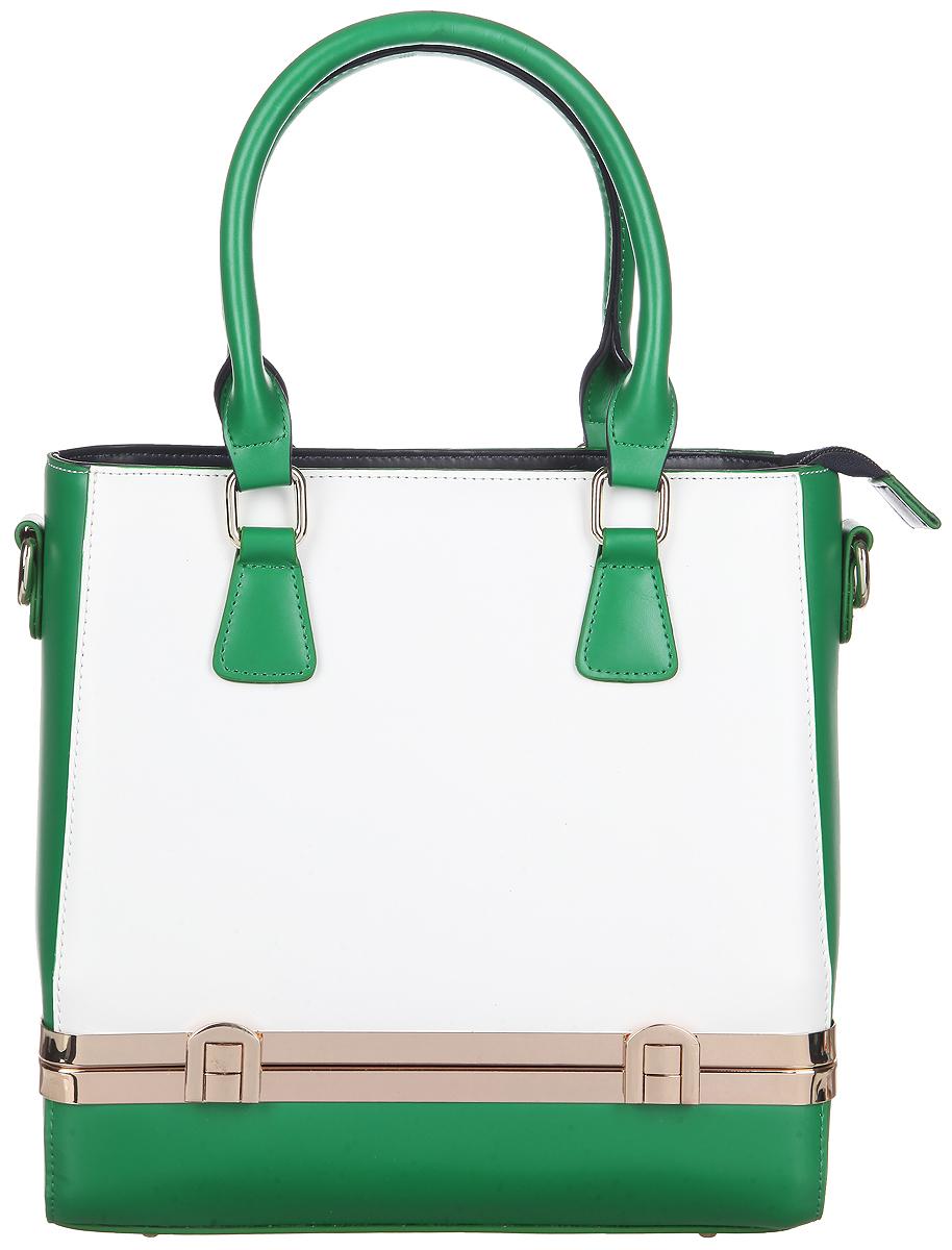 Сумка женская Calipso, цвет: зеленый, белый. 020-070986-172020-070986-172Оригинальная женская сумка Calipso выполнена из гладкой натуральной кожи. Сумка состоит из одного вместительного отделения, застегивающегося на застежку-молнию. Внутри располагается средник на молнии, прорезной карман на застежке-молнии и два накладных открытых кармана для мелочей. На тыльной стороне сумки расположен прорезной карман на застежке-молнии. В дне сумки находится дополнительное отделение, дно фиксируется при помощи защелок. Сумка оснащена ручками и съемным плечевым ремнем с регулируемой длиной. Плоское дно сумки обеспечивает необходимую устойчивость. Сумка - это стильный аксессуар, который подчеркнет вашу изысканность и индивидуальность и сделает ваш образ завершенным. С такой сумочкой вы не останетесь незамеченной.