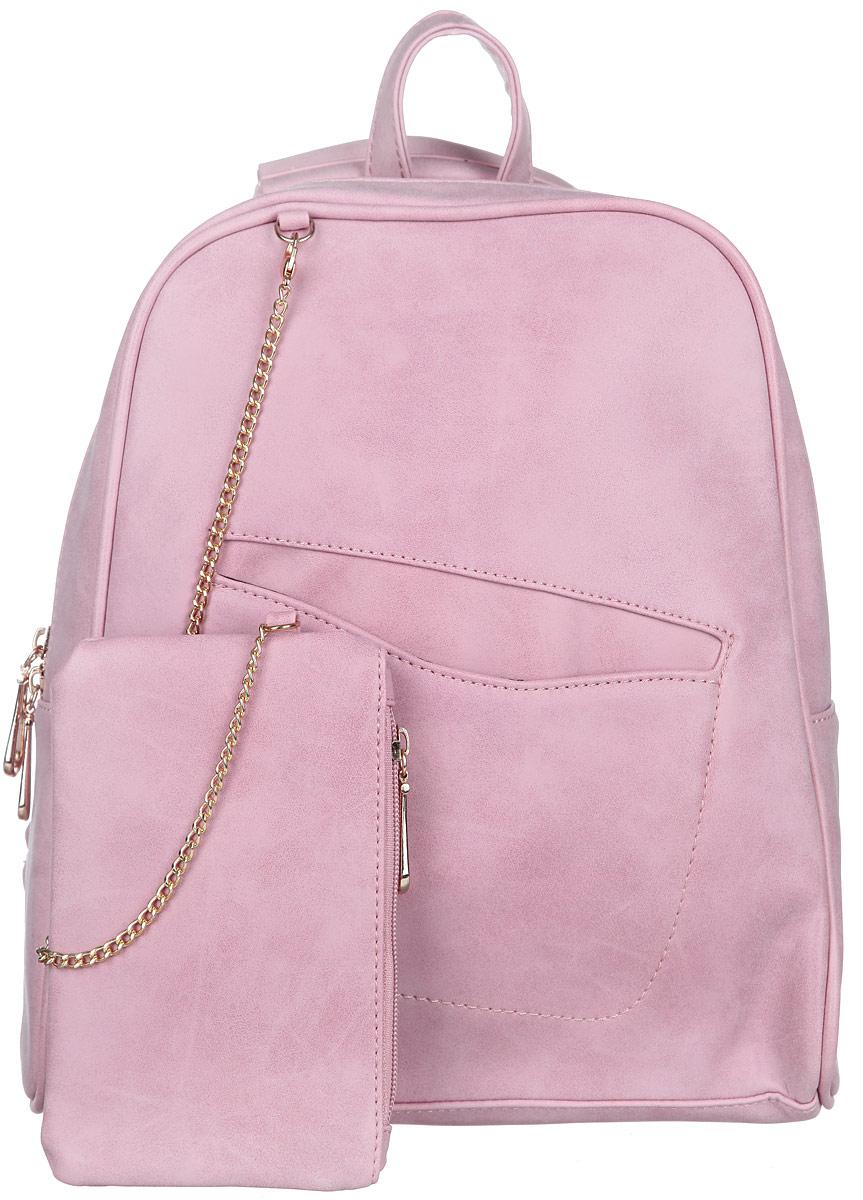 Рюкзак женский Orsa Oro, цвет: розовый. D-238/20D-238/20Стильный женский рюкзак Orsa Oro выполнен из экокожи. Рюкзак имеет одно основное отделение, которое закрывается на замок-молнию. Внутри два накладных кармана для телефона и мелких принадлежностей, врезной карман на молнии и большой накладной карман для бумаг. Снаружи, на передней части рюкзака, размещен врезной карман. На спинке рюкзака размещен врезной карман на молнии. К рюкзаку прилагается небольшой кошелек на замке-молнии с карабином на цепочке. Рюкзак оснащен петлей для подвешивания и двумя, регулируемыми по длине лямками с ручкой, с помощью которых его можно носить как в руках, так и на спине или плече. Фурнитура - золотистого цвета. Стильный рюкзак станет финальным штрихом в создании вашего неповторимого образа.