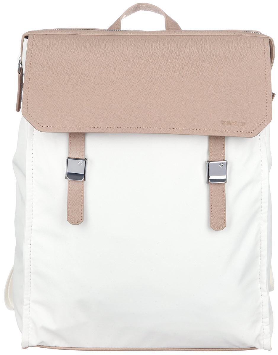 Рюкзак женский Samsonite, цвет: белый, бежевый. 56D-4200356D-42003Стильный женский рюкзак Samsonite выполнен из полиэстера и полиуретана, оформлен металлической фурнитурой и символикой бренда. Изделие содержит одно отделение, закрывающееся на застежку-молнию. Внутри рюкзака расположены мягкий карман для небольшого ноутбука и карман для планшета, которые закрываются эластичным хлястиком на застежку-липучку, а также карман с сетчатой вставкой на застежке-молнии. На лицевой стороне изделия расположен вместительный накладной карман, который закрывается клапаном с двумя хлястиками на зажимы. Внутри кармана расположены два накладных кармашка для телефона и мелочей. Задняя сторона изделия дополнена врезным карманом на застежке-молнии. Изделие оснащено двумя широкими плечевыми лямками регулируемой длины и петлей для подвешивания. Дно рюкзака дополнено металлическими ножками. Практичный аксессуар позволит вам завершить образ и быть неотразимой. К изделию прилагается чехол для хранения.