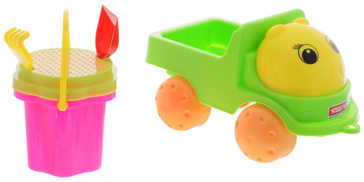 Stellar Грузовик Кузнечик-2 с песочным набором цвет салатовый желтый1841_салатовый, желтыйЯркий грузовик Stellar Кузнечик-2 и набор для песка, изготовленные из полипропилена, доставят много радости вашему ребенку. Грузовик снабжен вместительным кузовом и колесиками со свободным ходом. К нему можно привязать шнурок и возить его за собой. На таком грузовике малыш сможет подвозить песок к игрушечной стройке. Набор включает в себя небольшое ведерко с ручкой, сито, лопатку и грабельки. Порадуйте вашего малыша таким замечательным подарком!
