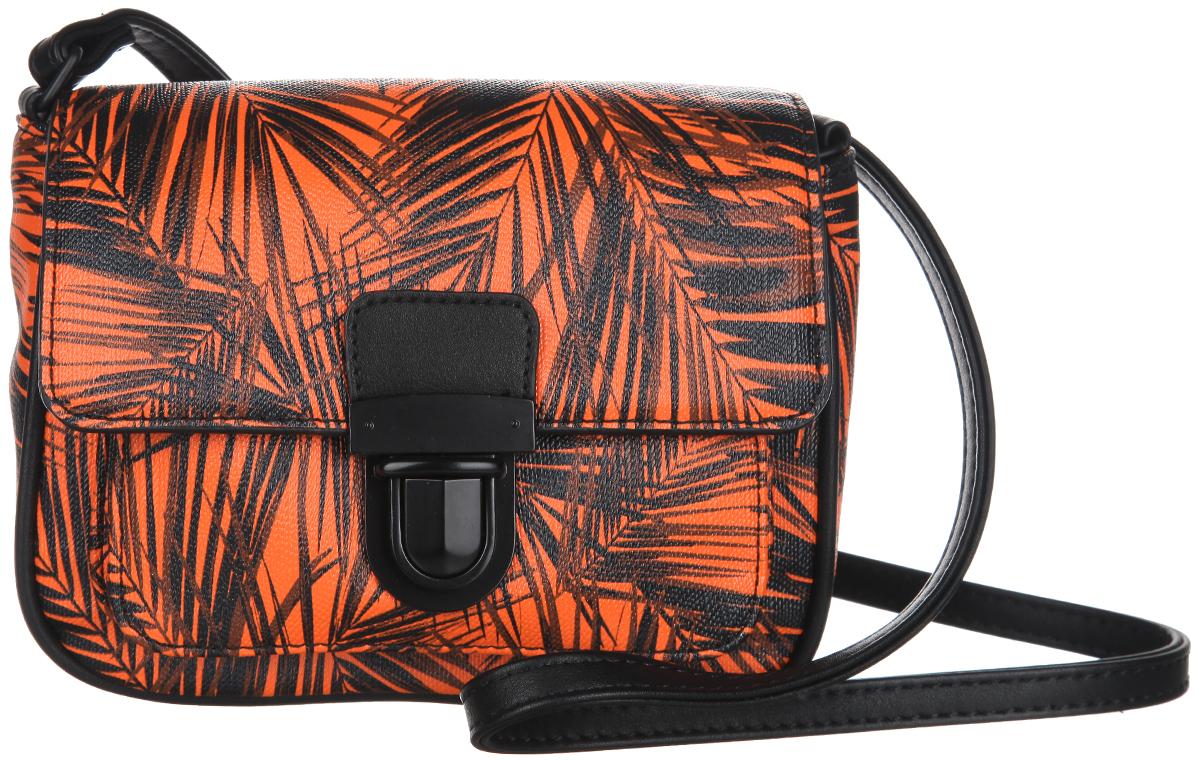Сумка женская Calipso, цвет: оранжевый, черный. 055-131286-288055-131286-288Оригинальная женская сумка Calipso выполнена из искусственной кожи и оформлена красочным контрастным принтом в виде пальмовых листьев. Сумка закрывается на клапан с замком-защелкой и имеет одно отделение и накладной открытый карман. Внутри отделения располагается прорезной карман на застежке-молнии. Сумка оснащена наплечным ремнем, длина которого регулируется. Сумка - это стильный аксессуар, который подчеркнет вашу изысканность и индивидуальность и сделает ваш образ завершенным. С такой сумочкой вы не останетесь незамеченной.