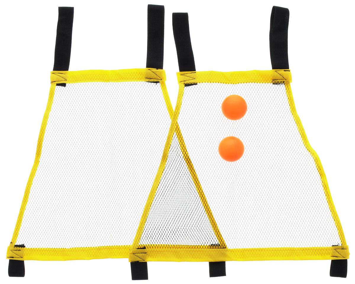 YG Sport Игровой набор Поймай мячикYG11TИгровой набор YG Sport Поймай мячик - отличное развлечение для детей на свежем воздухе. Специальными сетками-ловушками необходимо ловить мяч, перекидывая друг другу, или же отбивать его, как при игре в бадминтон. Наденьте две петли сетки-ловушки на плечи, а две другие петли оттяните большими пальцами рук. Отбивайте и ловите шарик то расслабляя, то сильнее натягивая сетку. Проявите свою ловкость и скорость реакции!