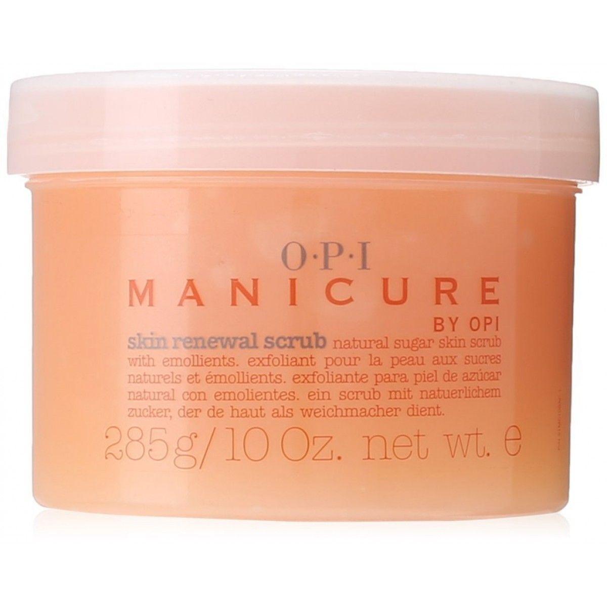 OPI Скраб для рук Manicure Skin Renewal Scrub, 85 грMC102Натуральные, растворимые в воде сахарные кристаллы бережно очищают кожу от старых клеток эпидермиса, делая ее гладкой и светлой. Глубоко проникающие в кожу рук натуральные альфа-оксикислоты (АНА) ускоряют процесс обновления клеток, в результате чего кожа рук омолаживается.