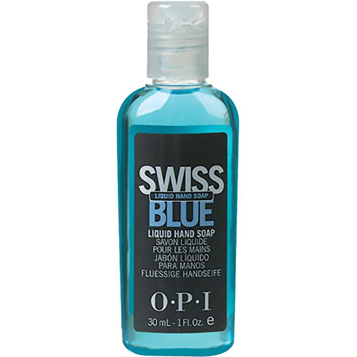 OPI Мыло для рук Swiss Blue, 30 млSD321Жидкое мыло для рук Свис Блю OPI. Голубое жидкое мыло для мытья и защиты рук мастера и клиента быстро и мягко очищает руки и создано специально для салонного использования. После каждого использования оставляет на руках невидимый защитный полимерный барьер 8-часового действия, оберегающий руки от воздействия химических препаратов при процедурах маникюра и педикюра. Содержит силикон, не дает эффекта скольжения.