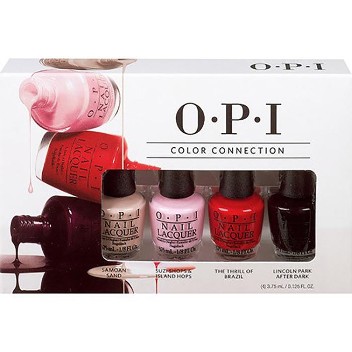 OPI Мини лаки из коллекции Color Connection Mini Pack, 4х3,75 млSRG83Лак для ногтей OPI быстросохнущий, содержит натуральный шелк и аминокислоты. Увлажняет и ухаживает за ногтями. Форма флакона, колпачка и кисти специально разработаны для удобного использования и запатентованы.