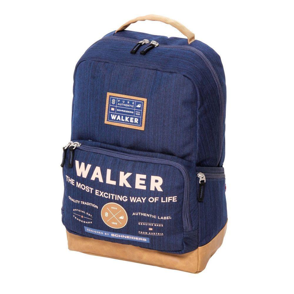 Walker Школьный ранец Pure Authentic цвет синий42253/70Уплотненная спинка и лямки помогают лучше распределить нагрузку и сохранить форму рюкзака независимо от его наполнения. Светоотражающие элементы расположены на передней части рюкзака на боковых и лямках. С ним путешествие становится безопасным.