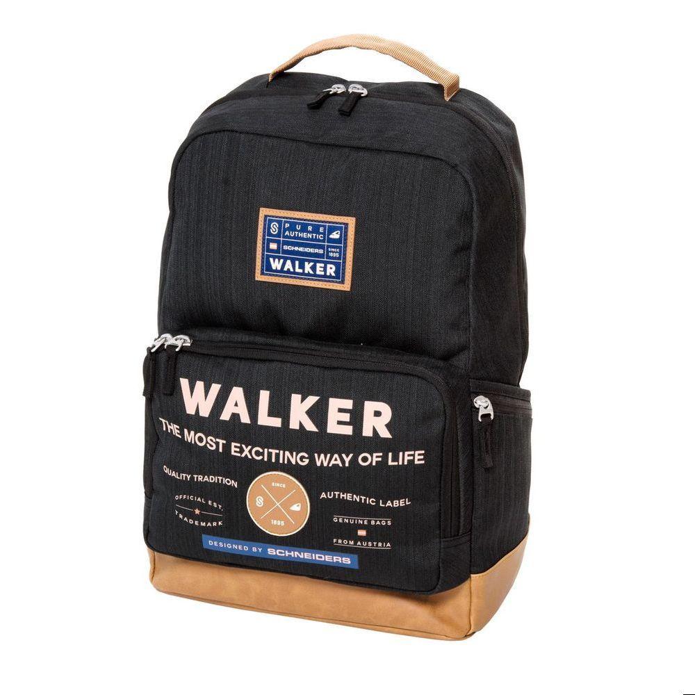 Walker Школьный ранец Pure Authentic цвет черный42253/80Уплотненная спинка и лямки помогают лучше распределить нагрузку и сохранить форму рюкзака независимо от его наполнения. Светоотражающие элементы расположены на передней части рюкзака на боковых и лямках. С ним путешествие становится безопасным.