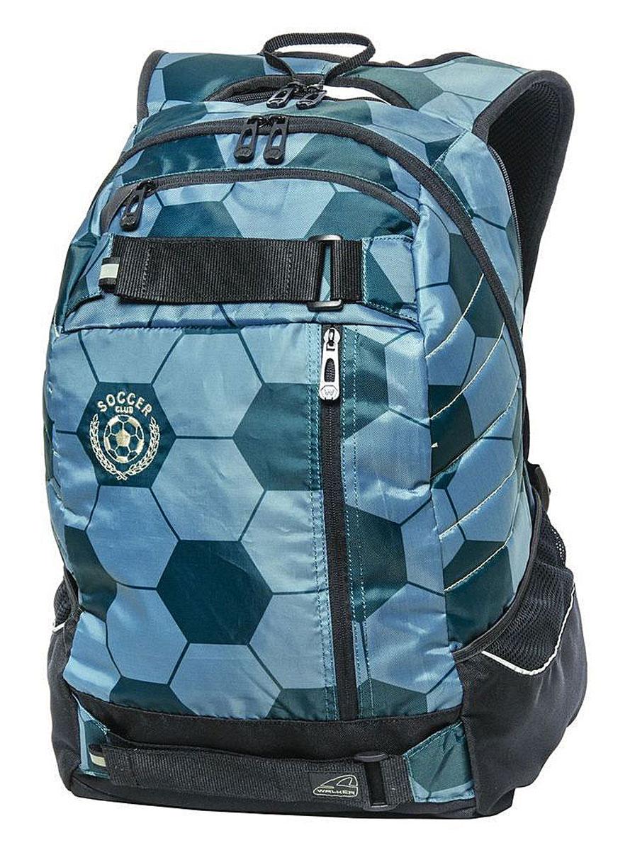 Walker Школьный ранец Wingman Soccer Club Petrol42408/64Уплотненная спинка и лямки помогают лучше распределить нагрузку и сохранить форму рюкзака независимо от его наполнения. Светоотражающие элементы расположены на передней части рюкзака на боковых и лямках. С ним путешествие становится безопасным.