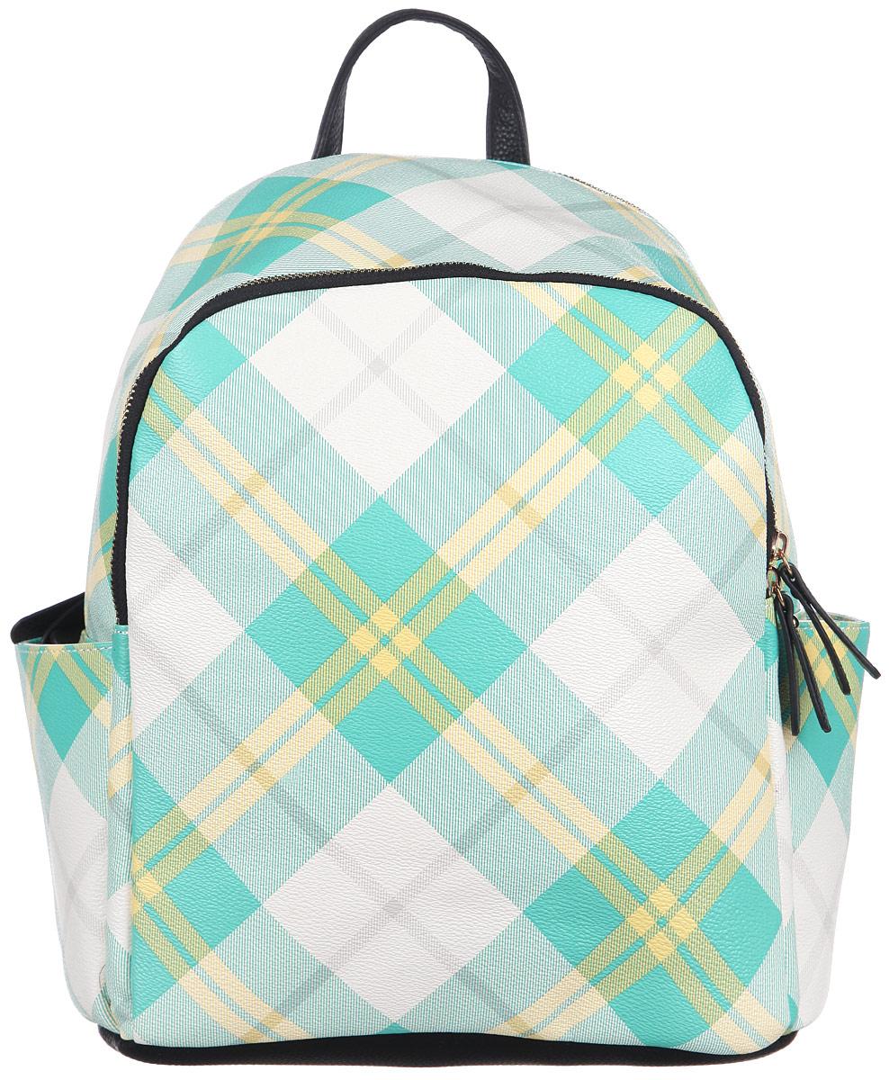 Рюкзак женский Orsa Oro, цвет: бежевый, желтый, бирюзовый. D-242/6D-242/6Стильный женский рюкзак Orsa Oro с оригинальным цветным принтом выполнен из экокожи. Рюкзак имеет одно основное отделение, которое закрывается на замок-молнию. Внутри два накладных кармана для телефона и мелких принадлежностей, а также врезной карман на молнии. Снаружи, на передней части рюкзака, размещен глубокий накладной карман на молнии. По бокам, расположены небольшие открытые накладные кармашки. Снаружи, на спинке рюкзака, размещен врезной карман на молнии. Рюкзак оснащен двумя, регулируемыми по длине лямками, с помощью которых его можно носить как на плече, так и на спине и петлей для подвешивания. Фурнитура - золотистого цвета. Стильный рюкзак станет финальным штрихом в создании вашего неповторимого образа.