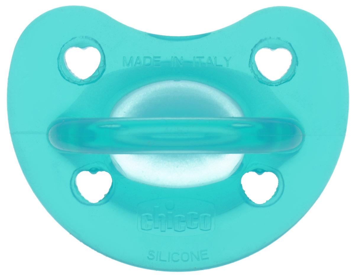 Chicco Пустышка силиконовая ортодонтическая Physio Soft от 6 до 12 месяцев цвет бирюзовый