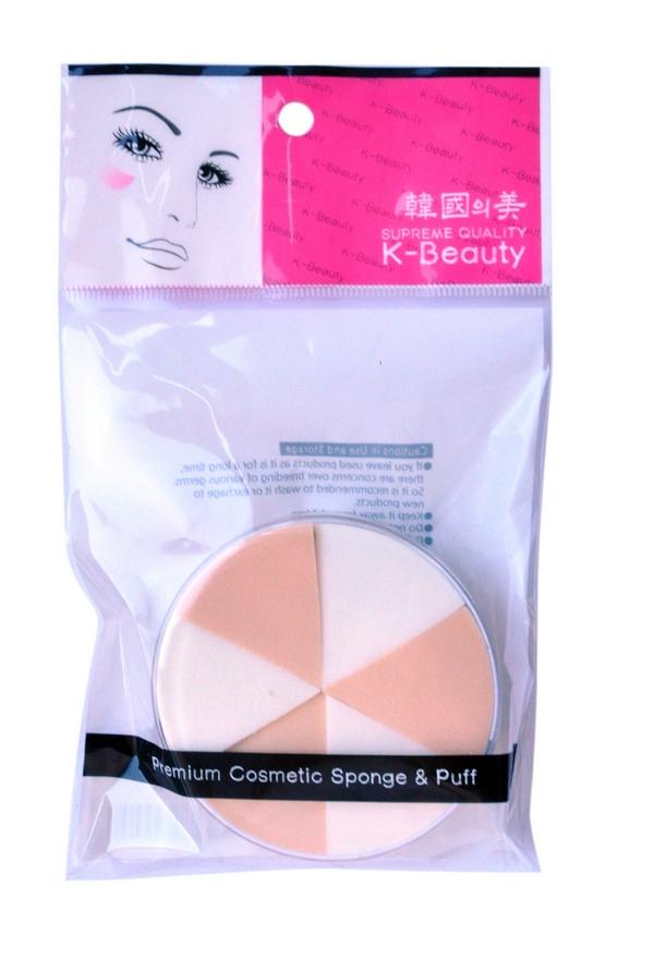 K-Beauty Спонж косметический, двухцветный, 6 шт300058Косметический спонж предназначен для нанесения тональных средств (корректора, тонального крема, румян, пудры и т.д.), а также коррекции макияжа. Спонж позволяет равномерно распределить не только сухие, но и кремовые текстуры, а его удобная треугольная форма подходит для обработки таких труднодоступных зон, как область вокруг глаз и носогубные складки. Спонж упакован в пластиковый кейс, состоит из 6 отрывных сегментов. Мягкий и нежный спонж не травмирует, подходит даже для чувствительной кожи.