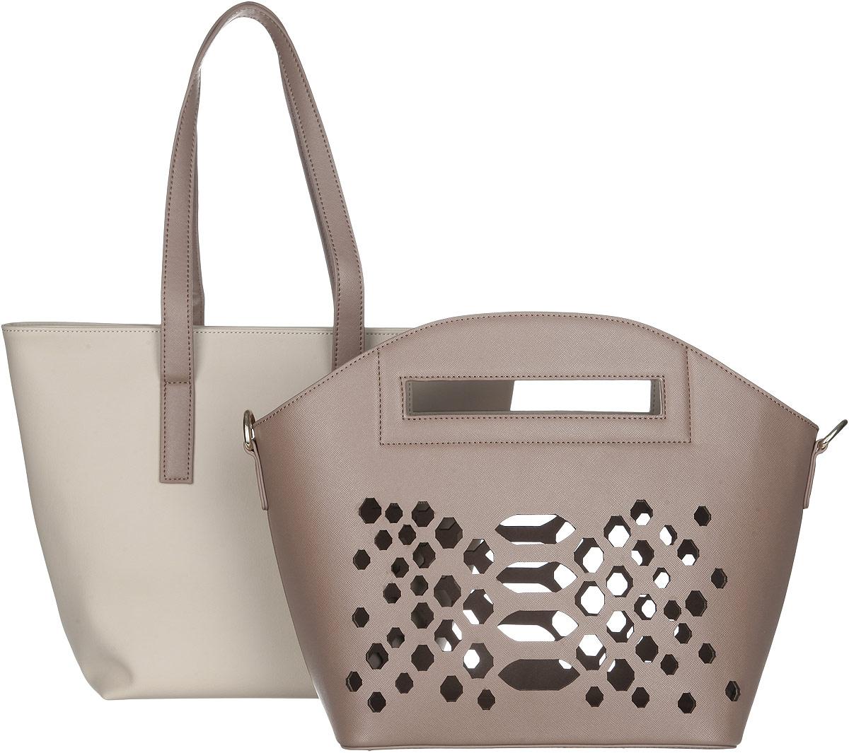 Сумка женская VelVet, цвет: кофе с молоком. 995-491286-172995-491286-172Изысканная женская сумка VelVet выполнена из искусственной кожи, представляет собой комплект из двух сумок в одной. Каждую сумку можно использовать как отдельный аксессуар. Сумка кофейного цвета, подходит для летнего отдыха, выполнена из более плотной кожи с перфорацией. Имеет удобные врезные ручки и закрывается на замок-молнию. Сумка молочного цвета также закрывается на замок-молнию, имеет одно большое отделение. Вместительное внутреннее отделение содержит два накладных кармана для телефона и мелких принадлежностей и врезной карман на молнии. Удобные удлиненные ручки позволяют носить сумку не только в руках, но и на плече. Комплект оснащен съемным регулируемым плечевым ремнем. Практичная и стильная сумка прекрасно завершит ваш образ.