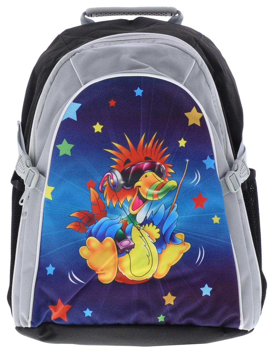 Tiger Family Рюкзак детский Joyful Birdie цвет черный серый2919/TG_черный, серый, уткаСтильный школьный рюкзак Joyful Birdie небольшого размера подойдет всем, кто хочет разнообразить свои школьные будни. Содержит вместительное отделение, закрывающееся на застежку-молнию с двумя бегунками. Внутри отделения находится перегородка для тетрадей или учебников. Дно рюкзака можно сделать жестким, разложив специальную панель с пластиковой вставкой, что повышает сохранность содержимого рюкзака. По бокам расположены два сетчатых кармана. Специально разработанная архитектура спинки со стабилизирующими набивными элементами повторяет естественный изгиб позвоночника. Набивные элементы обеспечивают вентиляцию спины ребенка. Плечевые лямки анатомической формы равномерно распределяют нагрузку на плечевую и воротниковую зоны. Конструкция пряжки лямок позволяет отрегулировать рюкзак по фигуре. Рюкзак оснащен эргономичной ручкой для удобной переноски в руке, а также имеется увеличитель объема. Светоотражающие элементы обеспечивают безопасность в темное время...